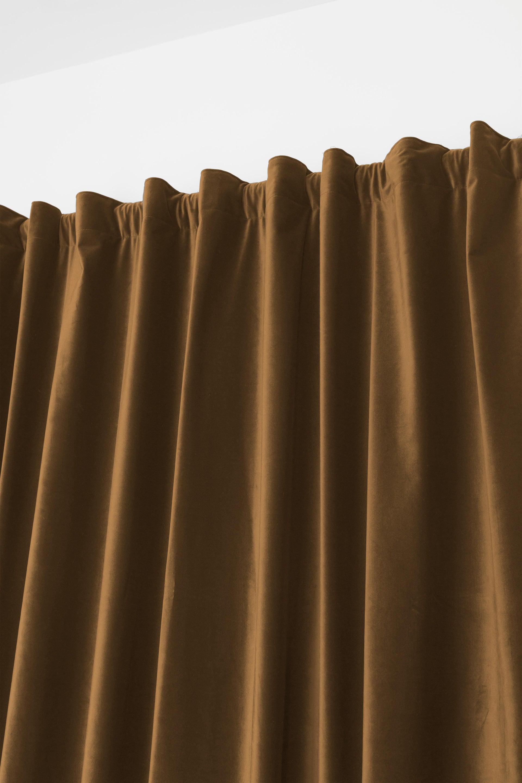 Tenda Misty marrone fettuccia con passanti nascosti 135 x 280 cm - 3
