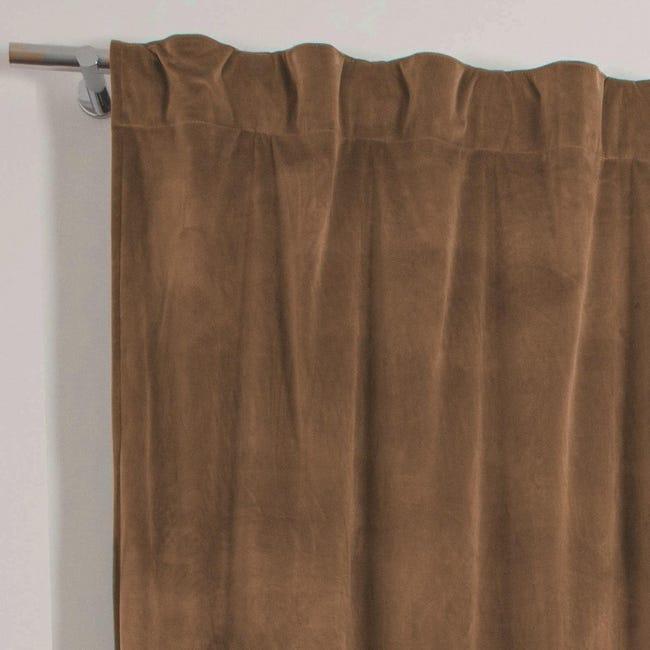 Tenda Misty marrone fettuccia con passanti nascosti 135 x 280 cm - 1