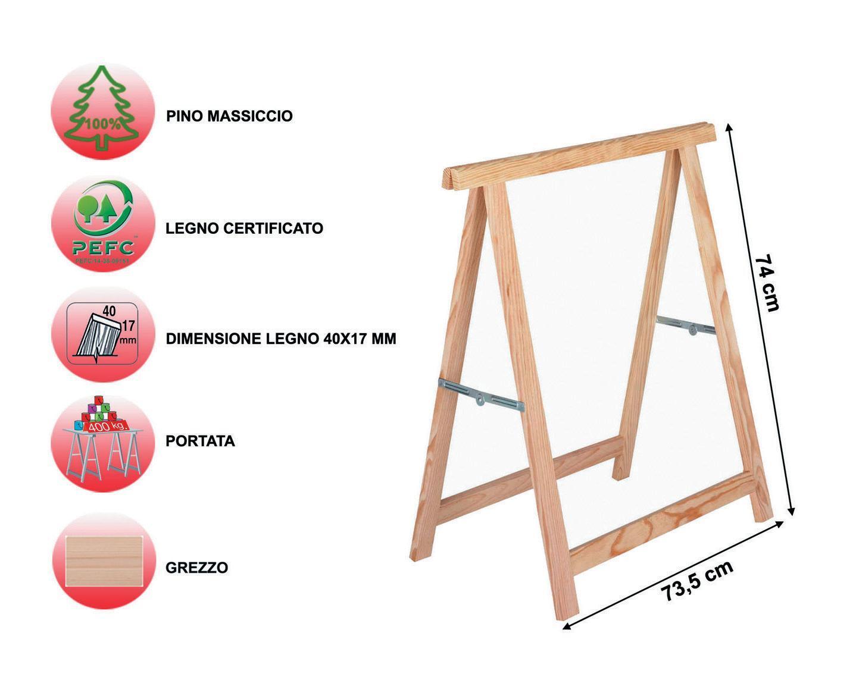 Cavalletto in pino Standard L 73.5 x P 73.5 x H 74 cm legno naturale - 2