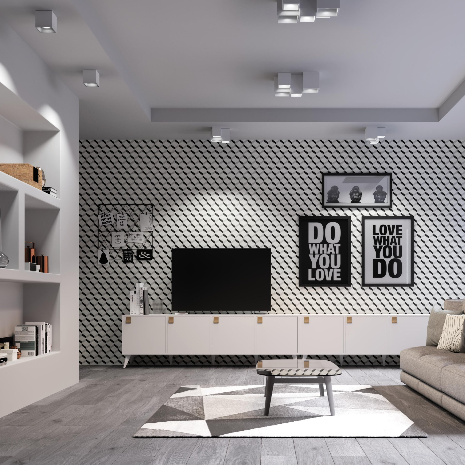Plafoniera design Foster bianco, in gesso, 3 luci INTEC - 4