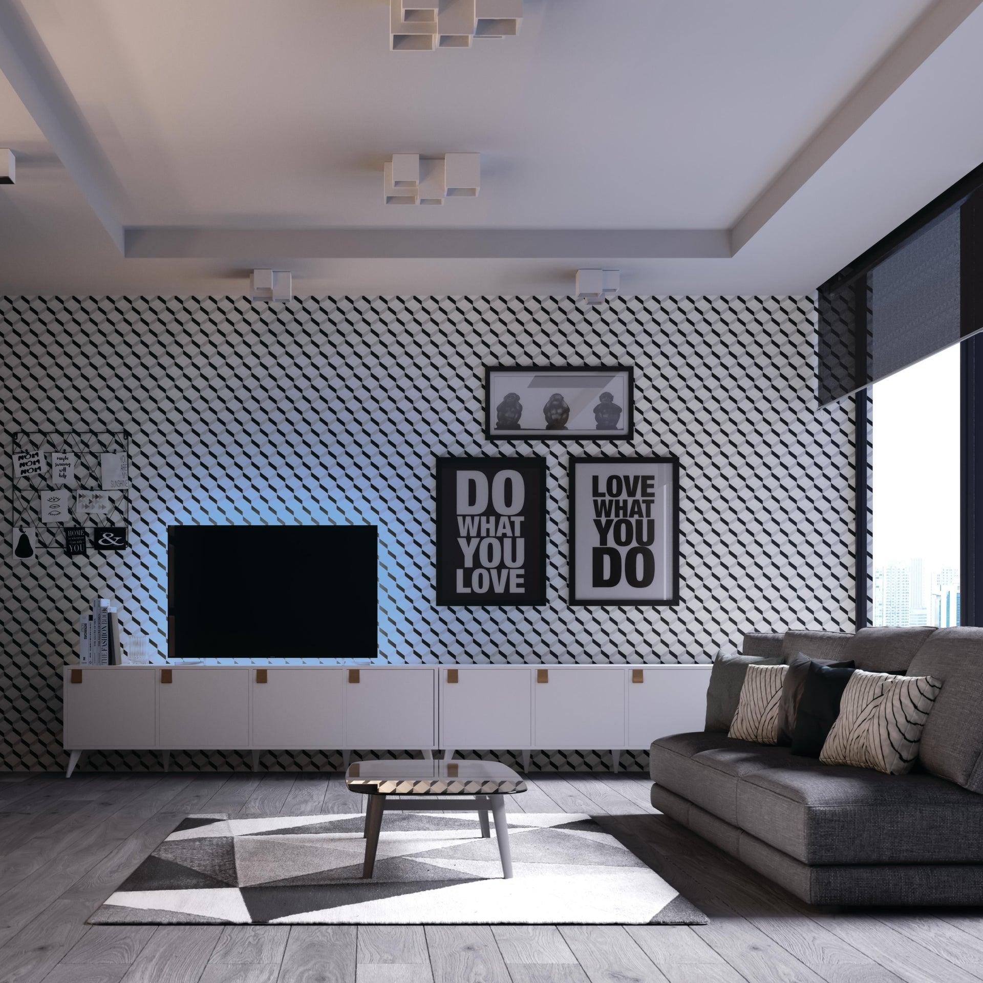 Plafoniera design Foster bianco, in gesso, 3 luci INTEC - 3