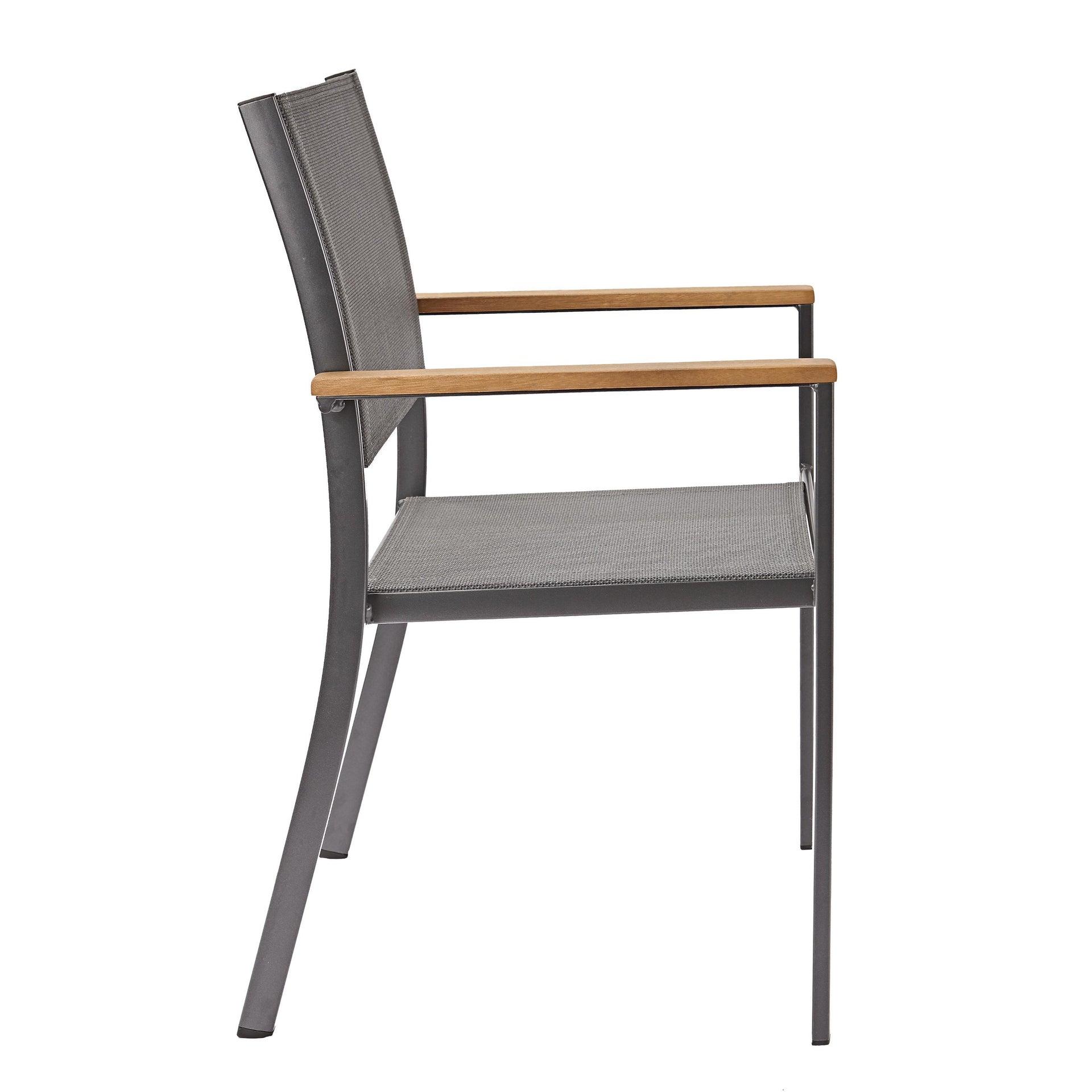 Sedia con braccioli senza cuscino in alluminio Oris NATERIAL colore teak - 7