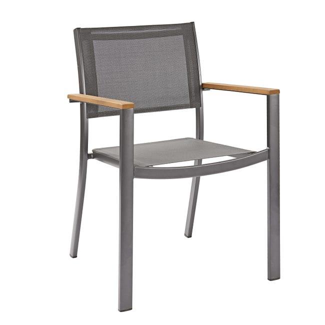 Sedia con braccioli senza cuscino in alluminio Oris NATERIAL colore teak - 1