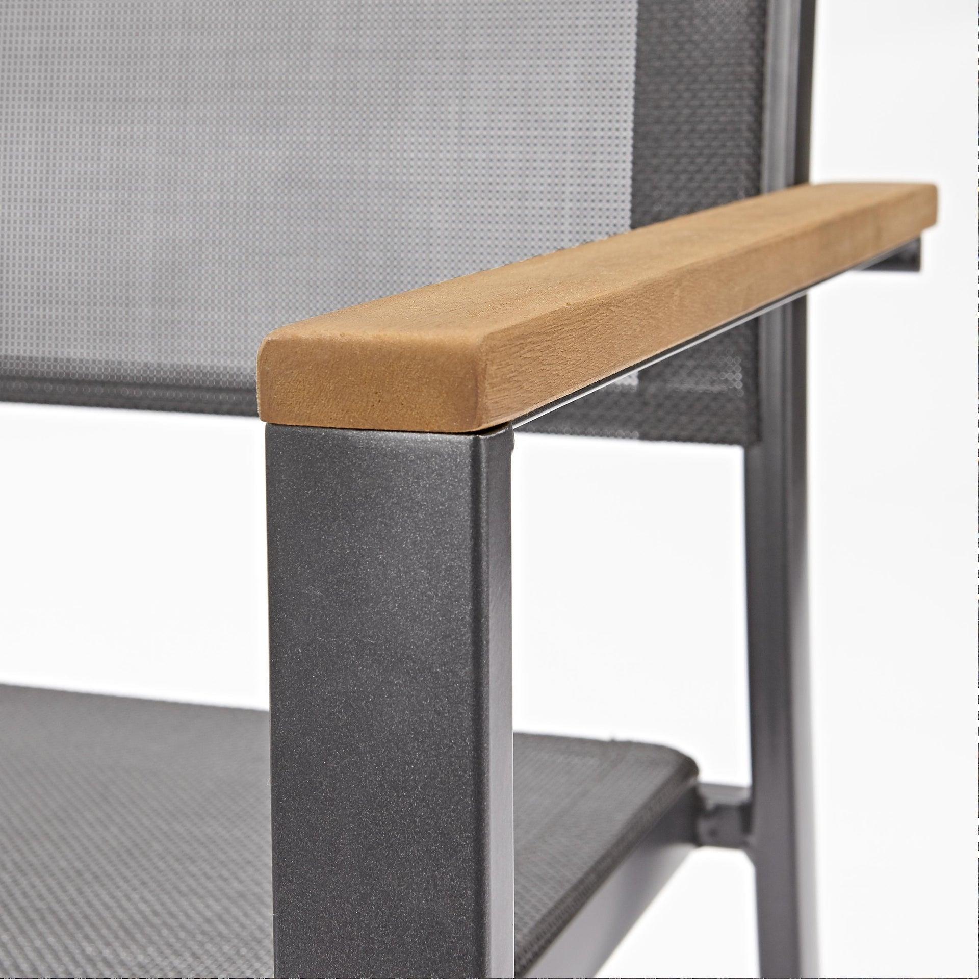 Sedia con braccioli senza cuscino in alluminio Oris NATERIAL colore teak - 11