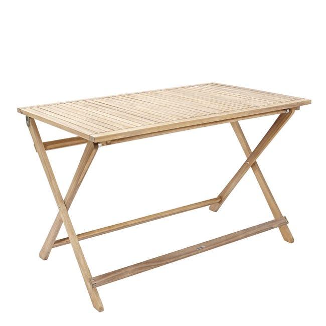 Tavolo da giardino rettangolare Solis NATERIAL con piano in legno L 70 x P 114 cm - 1