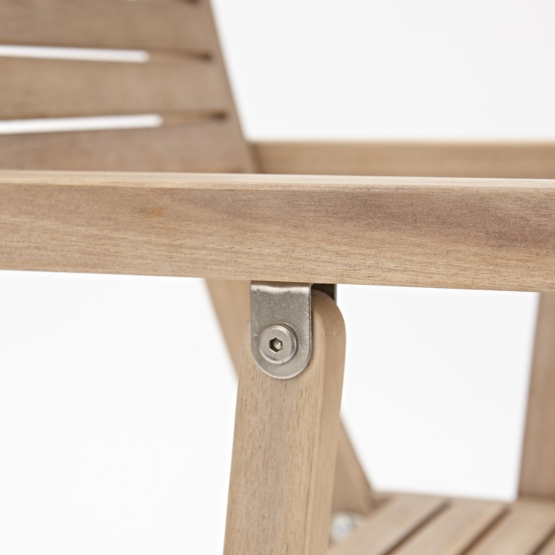Sedia con braccioli senza cuscino pieghevole in legno Solaris NATERIAL colore acacia - 5