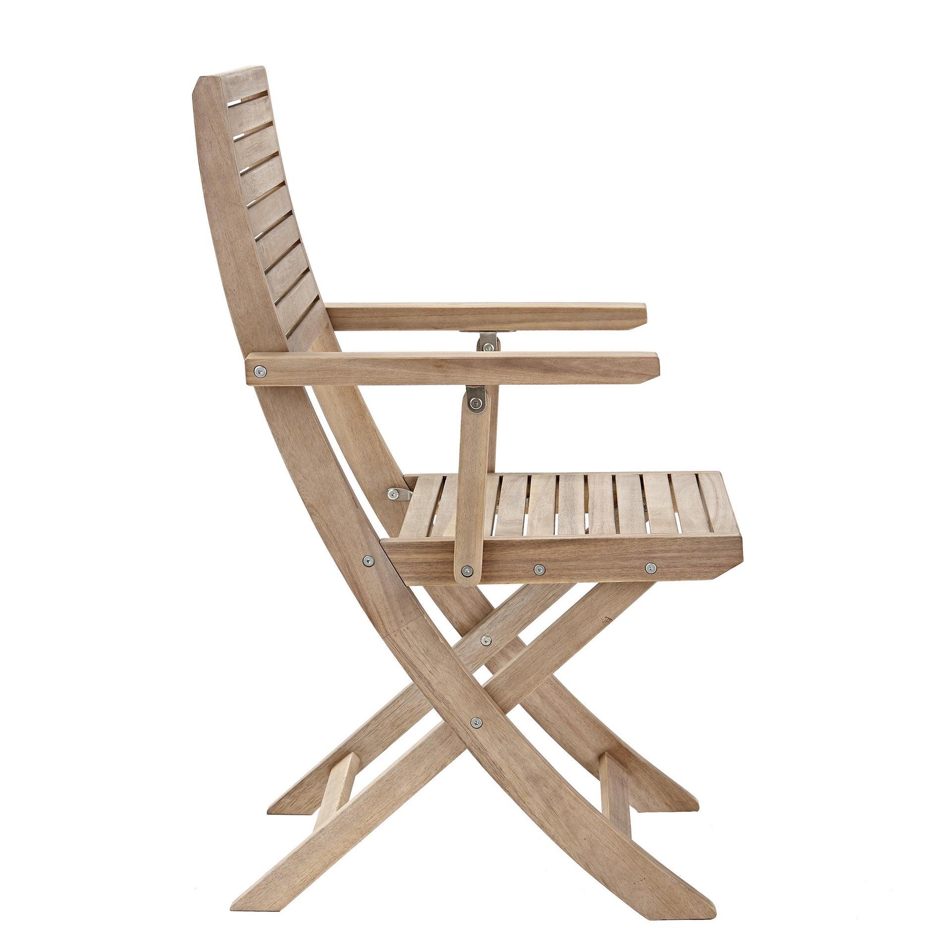 Sedia con braccioli senza cuscino pieghevole in legno Solaris NATERIAL colore acacia - 6