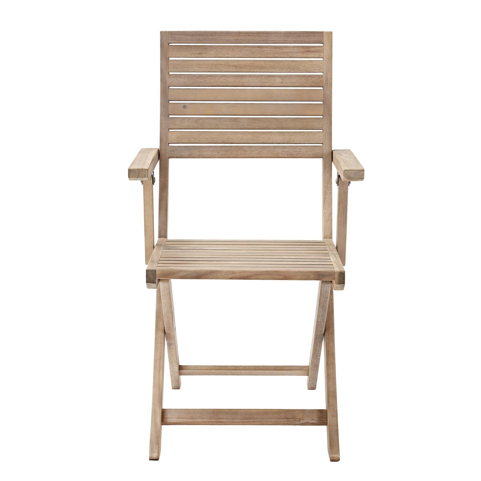 Sedia con braccioli senza cuscino pieghevole in legno Solaris NATERIAL colore acacia - 9