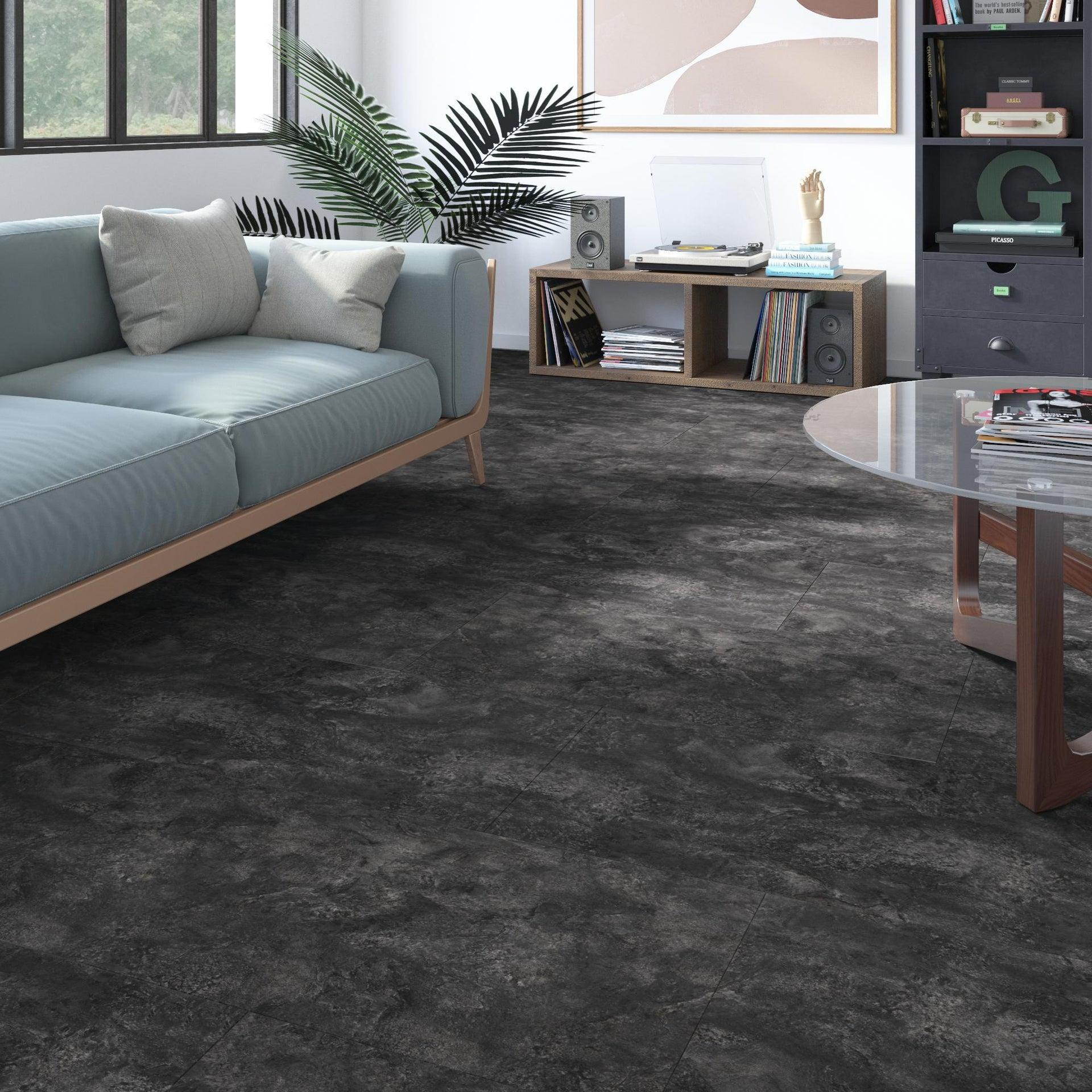 Pavimento PVC flottante clic+ Slate Sp 5 mm nero - 1