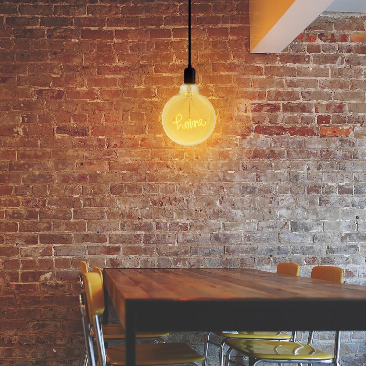 Lampadina decorativa LED, Script Home, E27, Globo, Ambra, Luce calda, 4W=200LM (equiv 4 W), 270° - 3