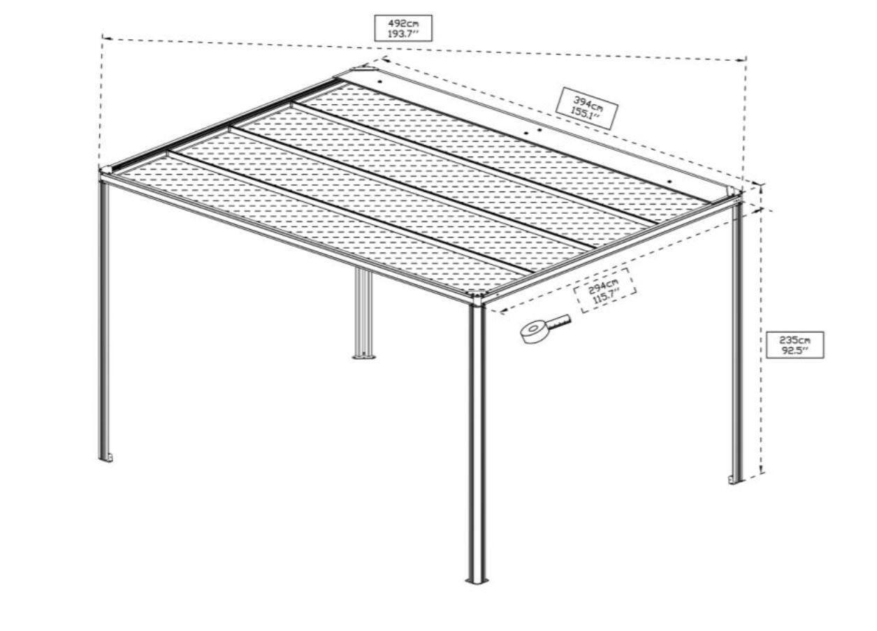 Pergola alluminio Glicine grigio L 394 cm x P 294 cm, H 2.35 m - 2