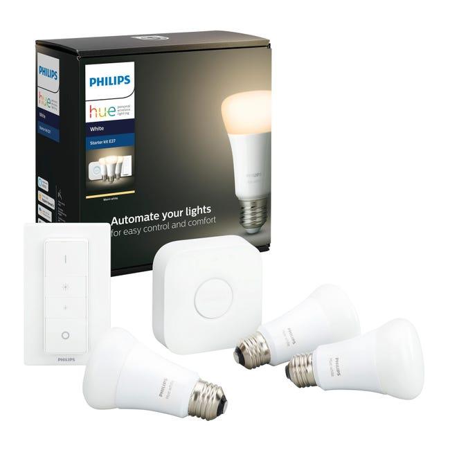 Set di 3 lampadine LED, HUE WHITE BLUETOOTH + BRIDGE + DIMMER, E27, Goccia, Opaco, Luce calda, 9W=806LM (equiv 60 W), 150° , PHILIPS HUE - 1