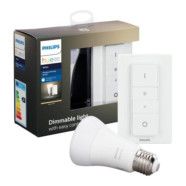 Lampadina collegato LED, HUE WHITE BLUETOOTH + TELECOMANDO, E27, Goccia, Opaco, Luce calda, 9W=806LM (equiv 60 W), 150° , PHILIPS HUE - 1