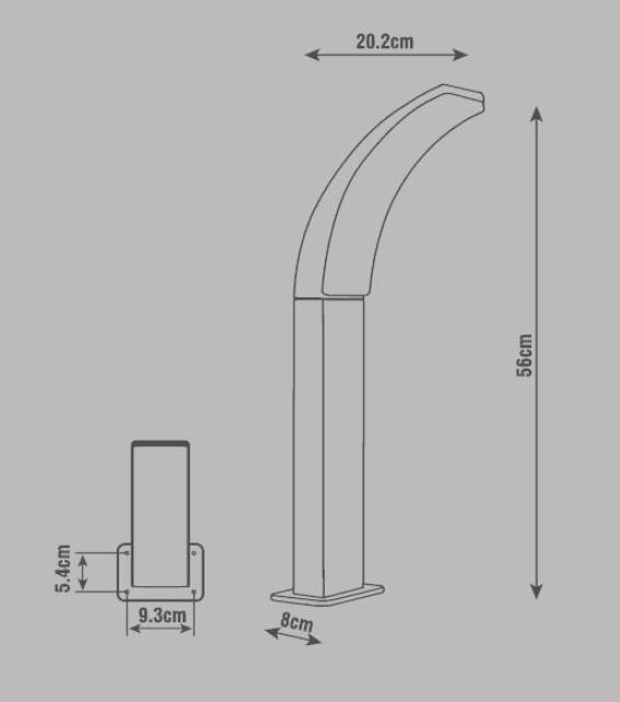 LampioncinoLakko H 56 cm, in alluminio, antracite, 1200LM MAX11W IP44 INSPIRE - 14