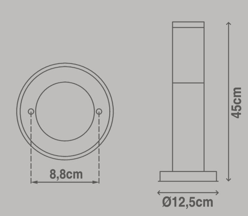 Lampione Travis H45.0 cm in acciaio inossidabile, nero, E27 1x MAX 15W IP44 INSPIRE - 2