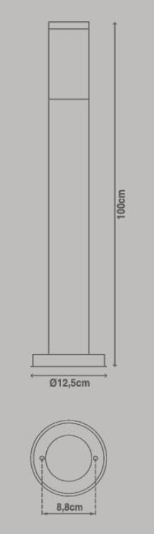 Lampione Travis H100.0 cm in acciaio inossidabile, nero, E27 1x MAX 40W IP44 INSPIRE - 5