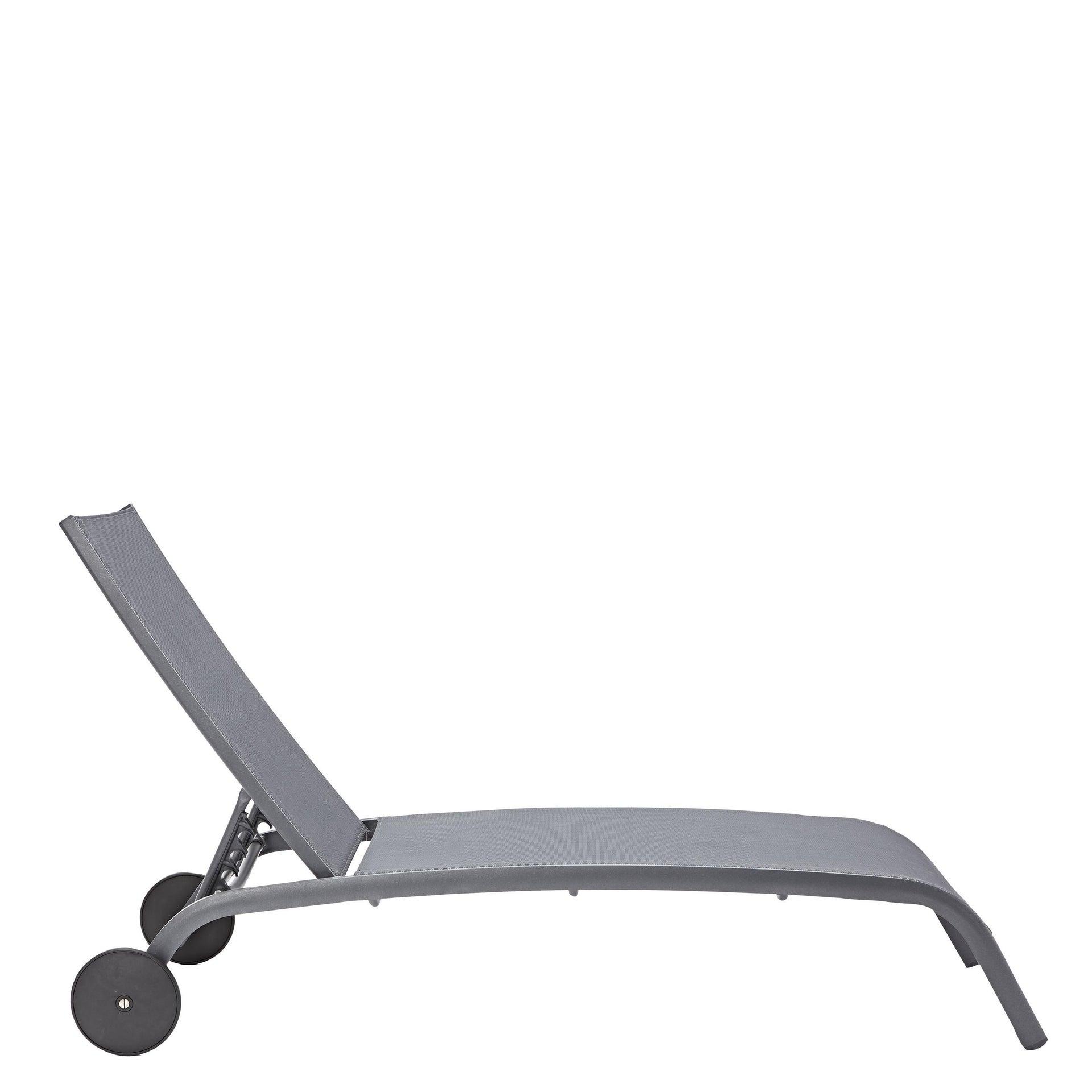 Lettino senza cuscino impilabile NATERIAL Lyra in alluminio grigio scuro - 16