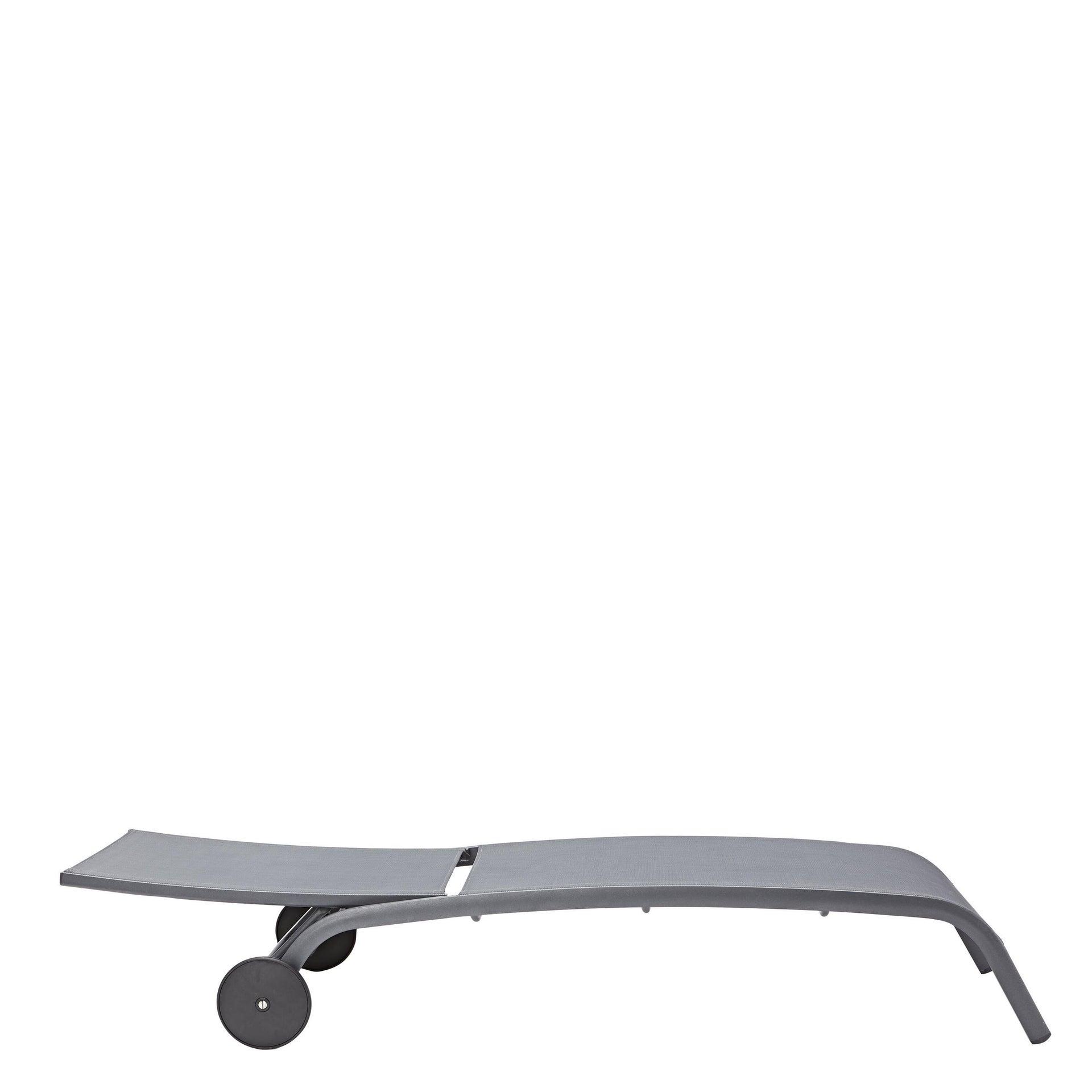 Lettino senza cuscino impilabile NATERIAL Lyra in alluminio grigio scuro - 4