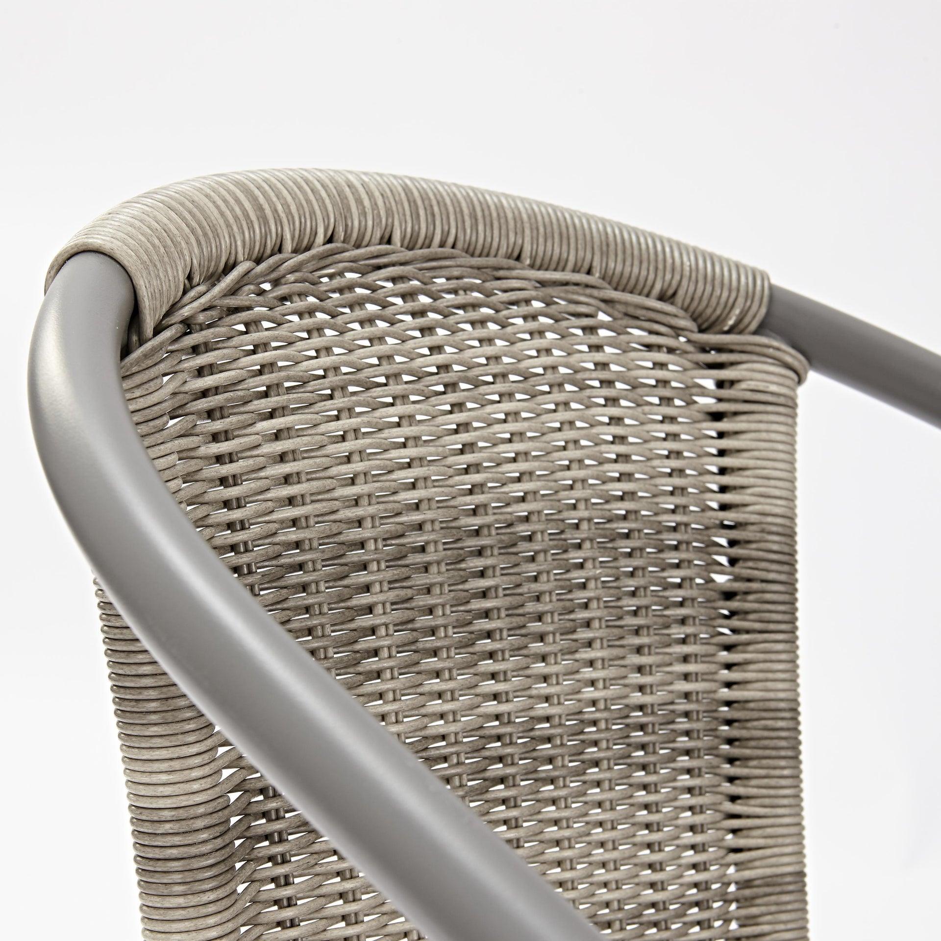 Sedia con braccioli senza cuscino in acciaio Elia colore beige - 7