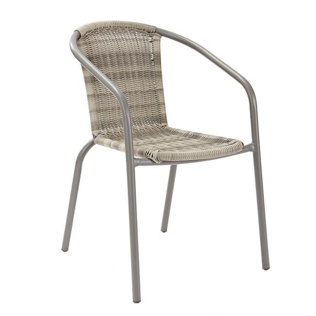 Sedia con braccioli senza cuscino in acciaio Elia colore beige - 1