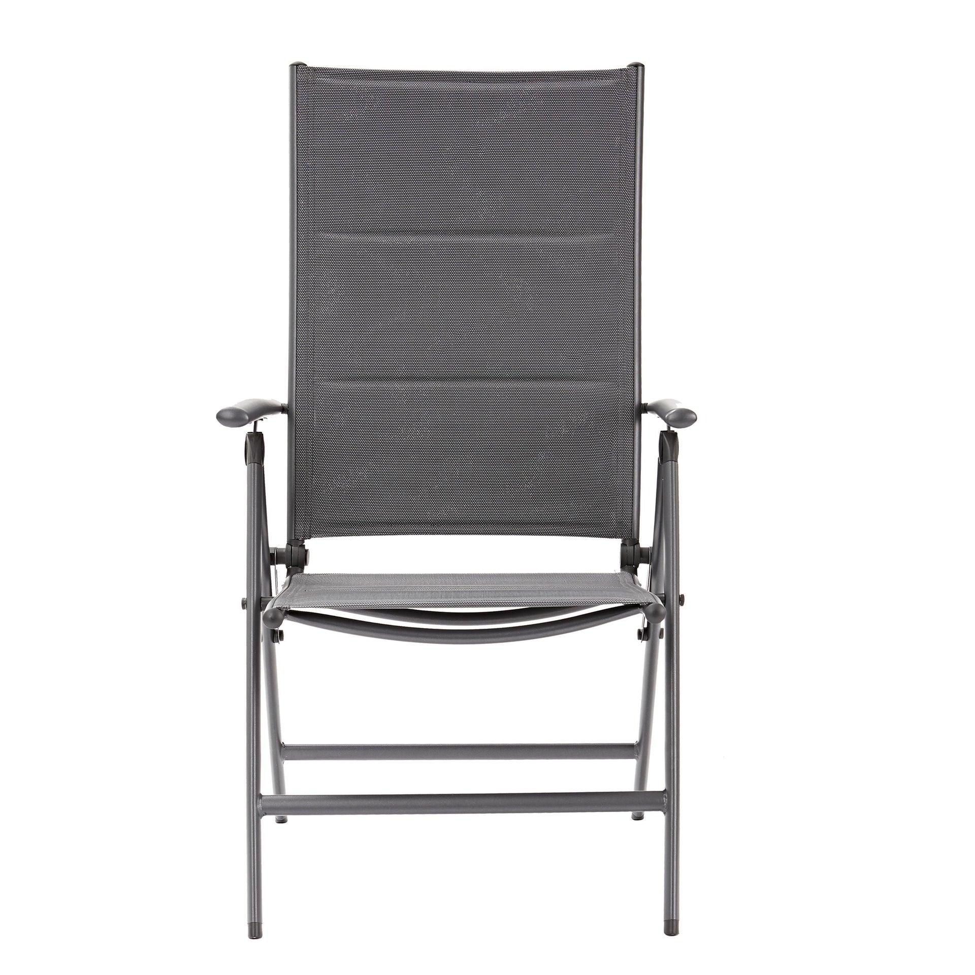Sedia con braccioli senza cuscino pieghevole in alluminio Orion NATERIAL colore antracite - 10