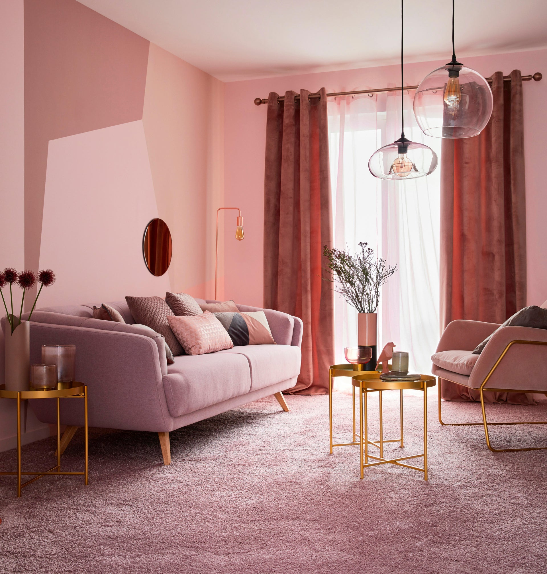 Tenda Misty rosa fettuccia 135 x 280 cm - 5