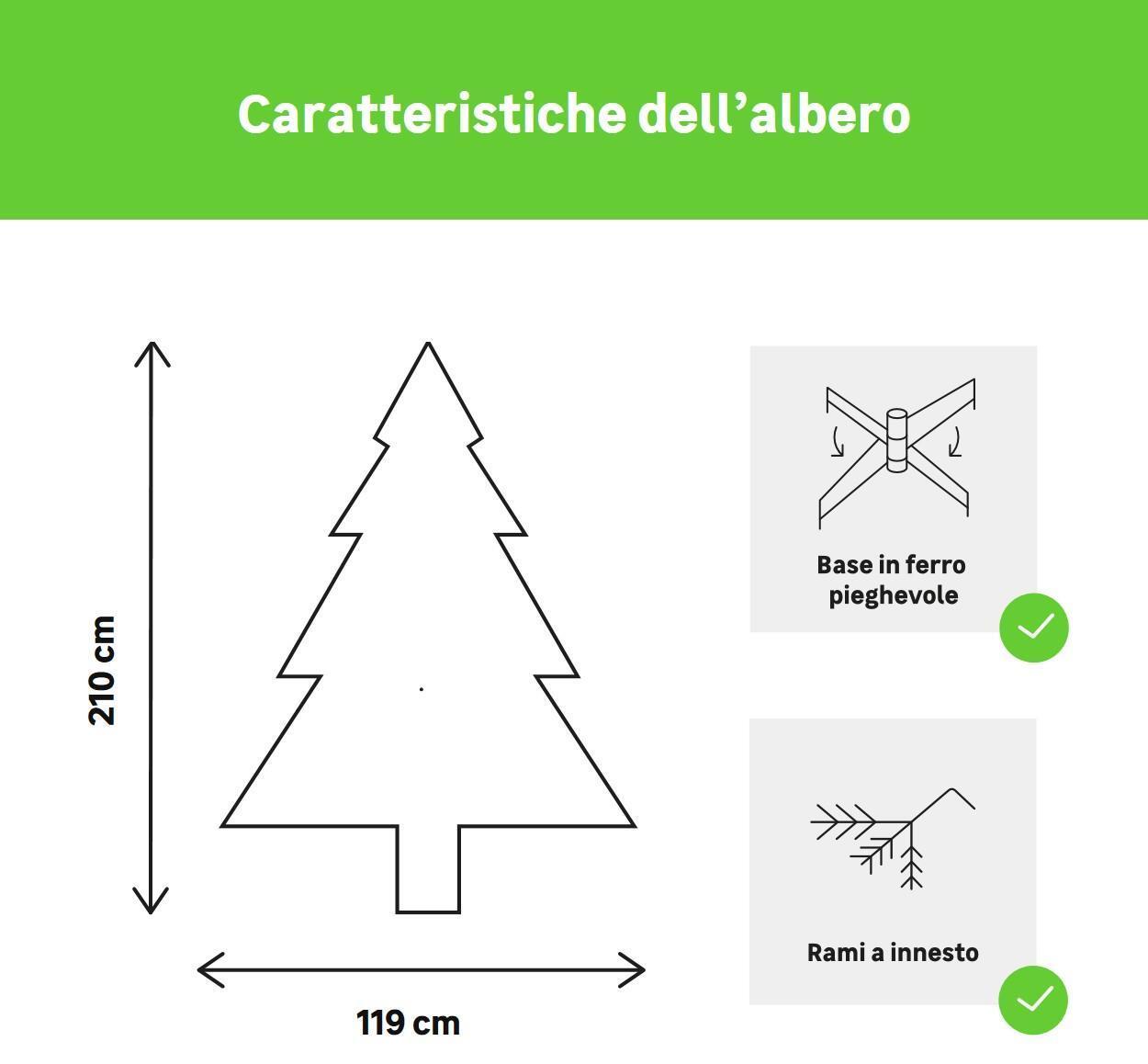 Albero di natale artificiale Livigno verde H 210 cm, - 3