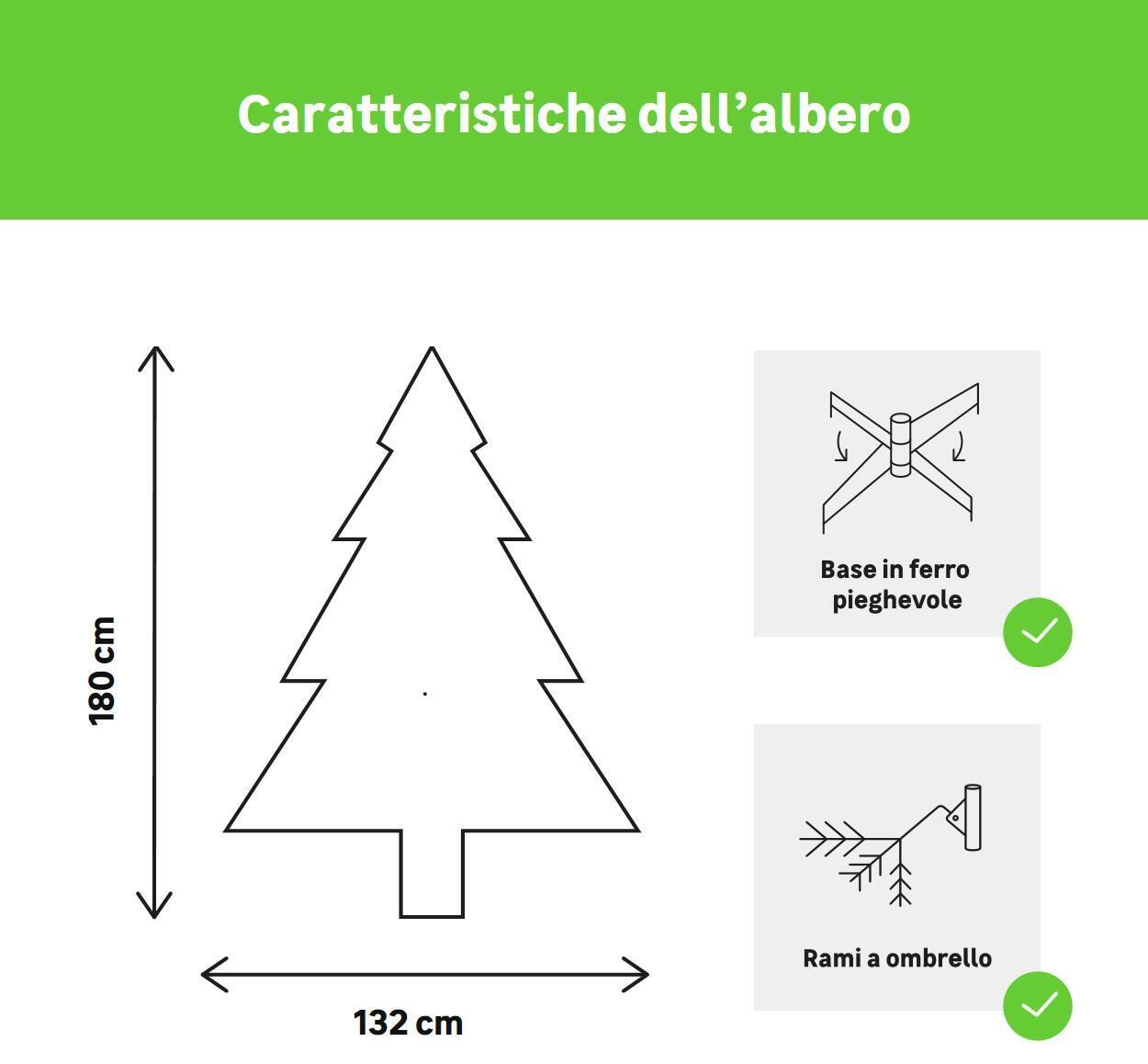 Albero di natale artificiale verde H 180 cm, - 3