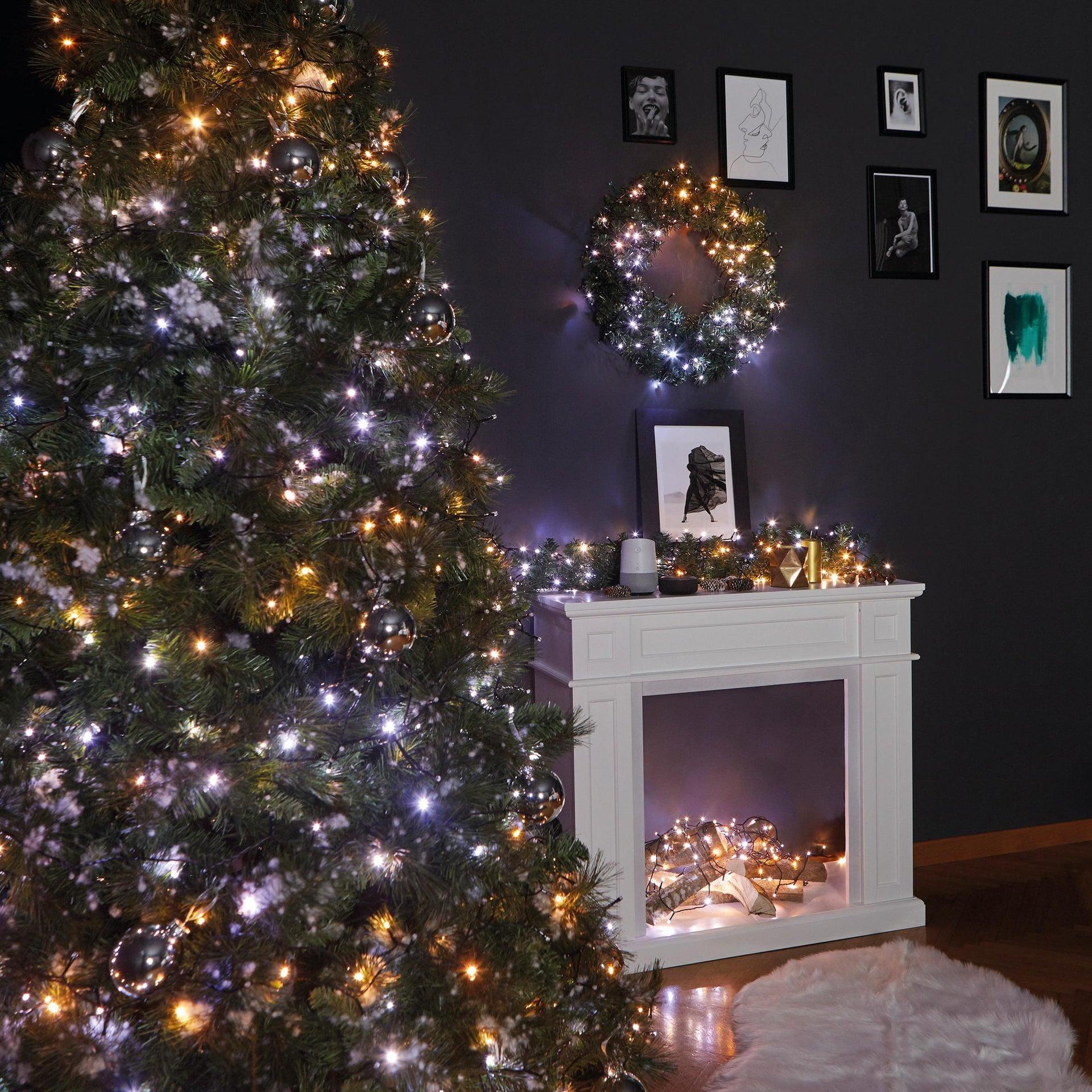 Catena luminosa 250 lampadine LED bianco caldo e bianco freddo e dorato e giallo TWINKLY 20 m - 1