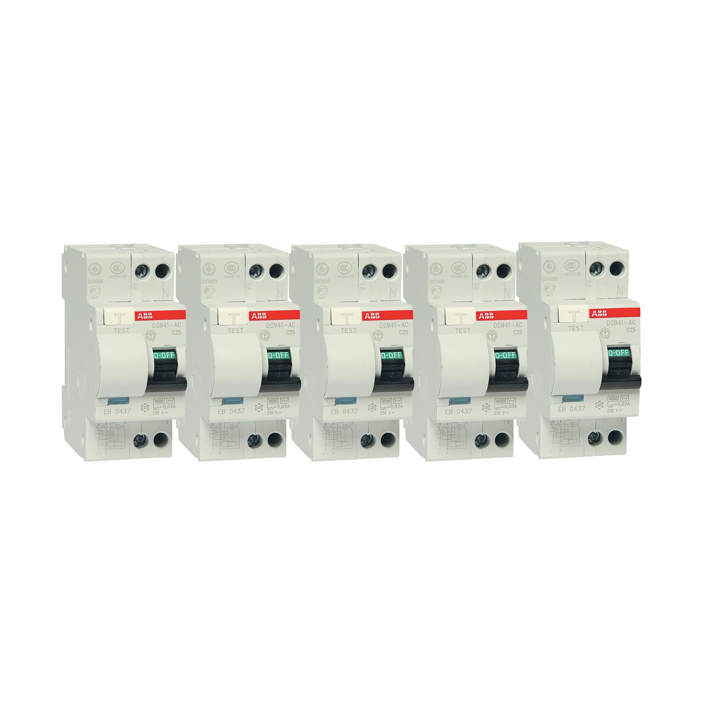 Kit Interruttore magnetotermico differenziale ABB DS 901 1 polo 25A 4.5kA 30mA AC 2 moduli 230V, 5 pezzi - 3