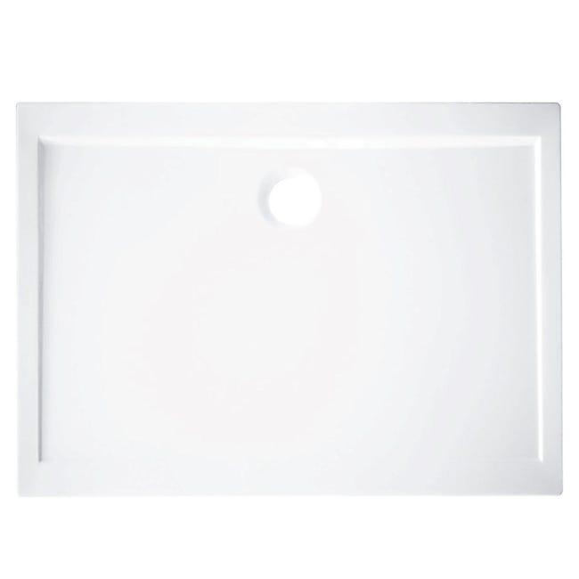 Piatto doccia acrilico rinforzato fibra di vetro Essential 70 x 90 cm bianco - 1