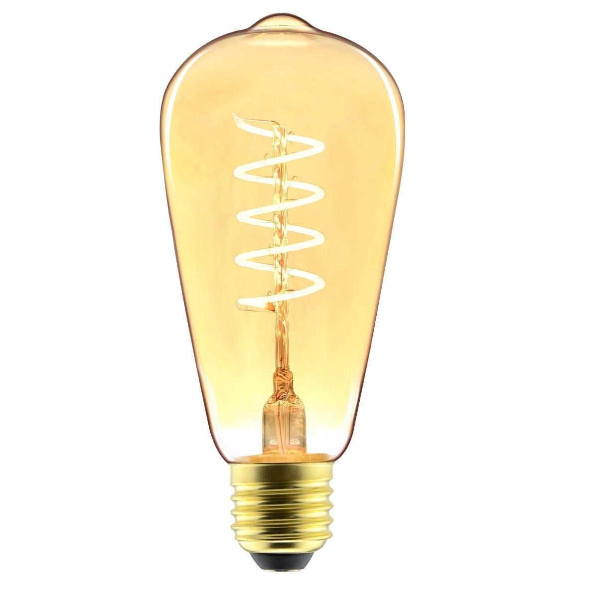 Lampadina decorativa LED filamento, Big Spiral, E27, Goccia, Ambra, Luce calda, 5W=250LM (equiv 25 W), 330° , LEXMAN