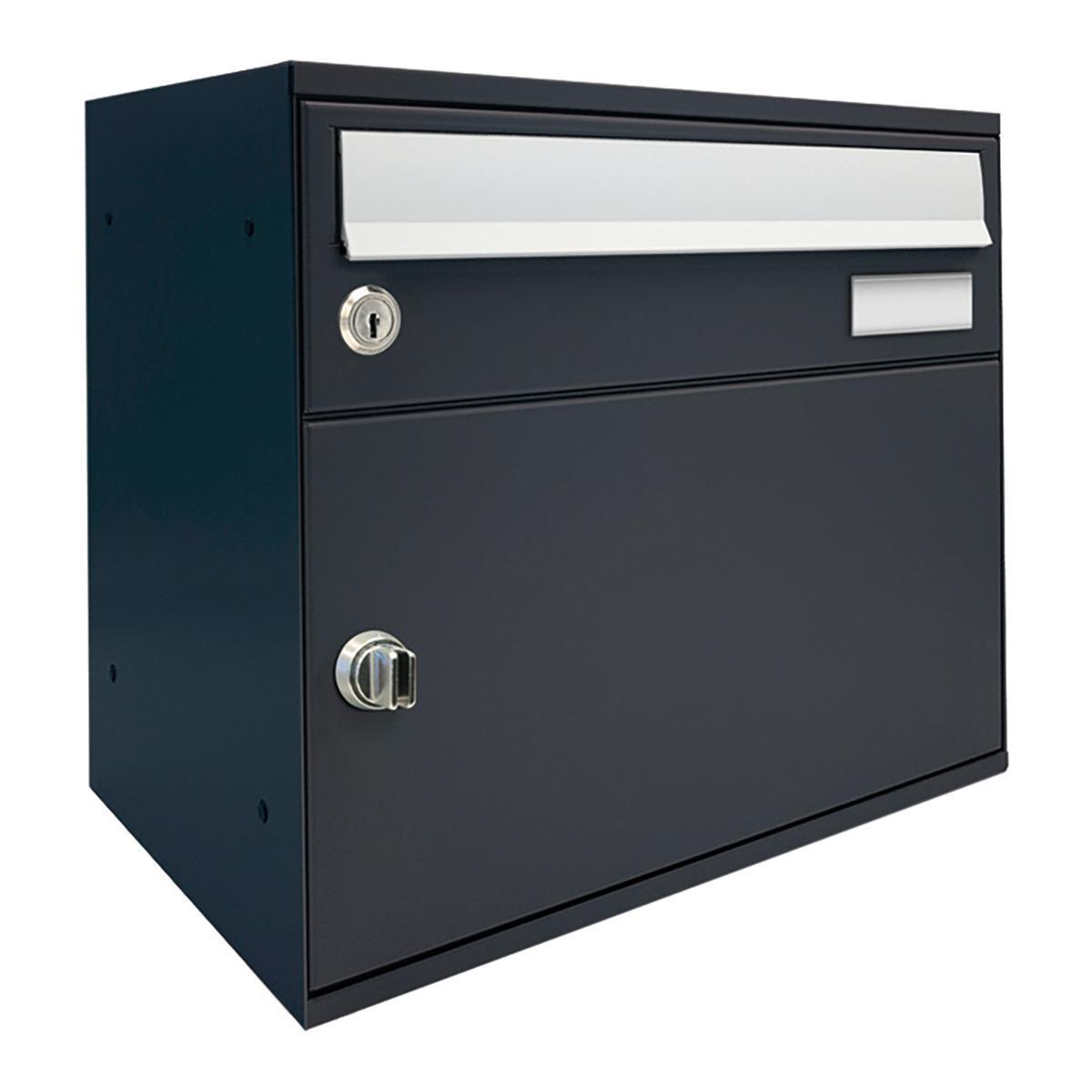 Cassetta postale ALUBOX formato A4, grigio antracite, L 40 x P 27 x H 11 cm - 1