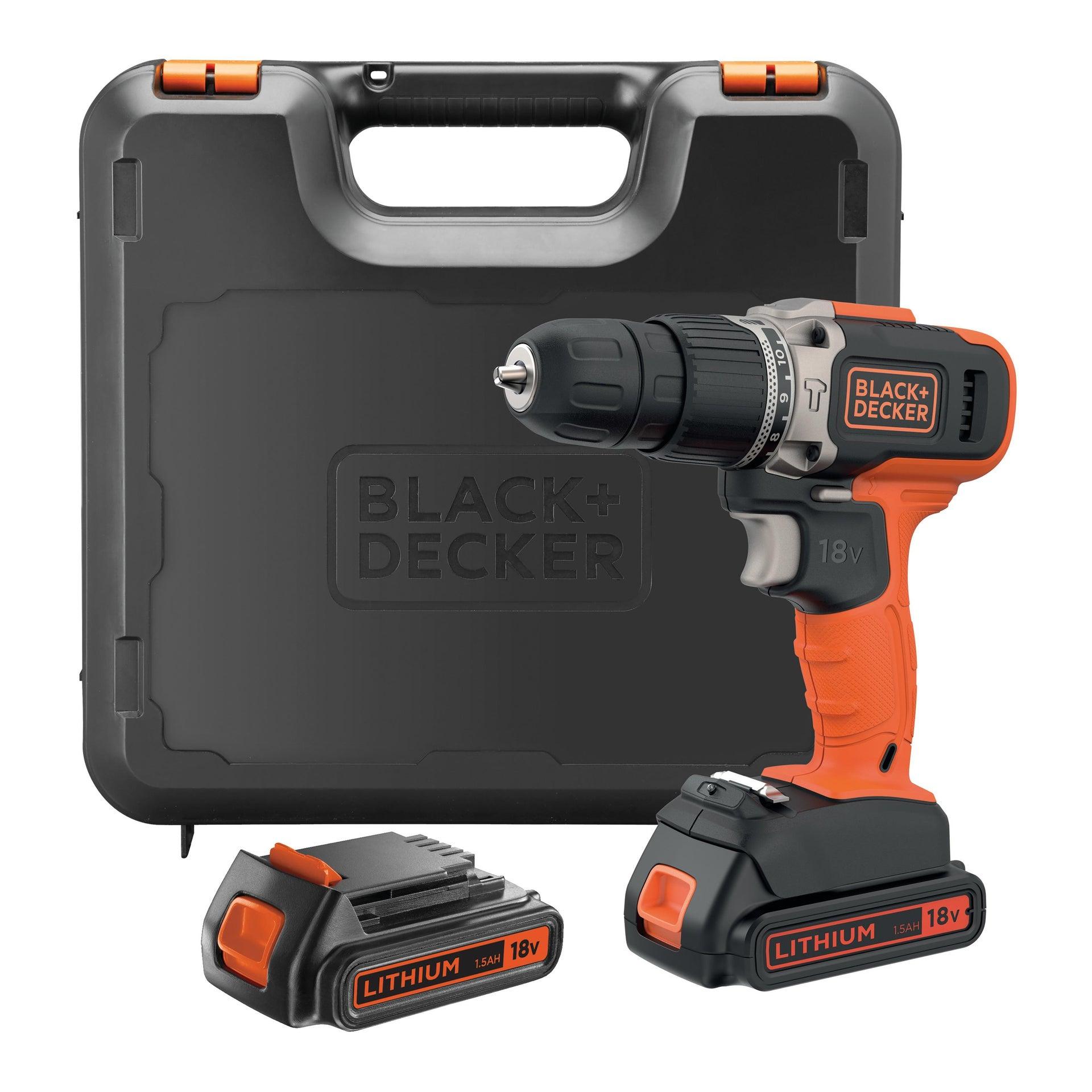 Trapano avvitatore a batteria BLACK + DECKER BCD003C2K 18 V, 1.5 Ah, 2 batterie - 1