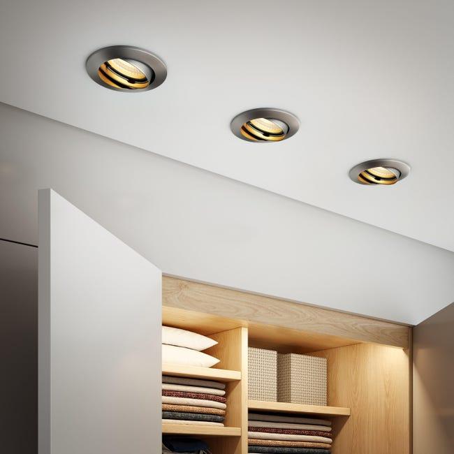Set da 10 pezzi Faretto orientabile da incasso tondo Clane in Alluminio nichel, diam. 8.2 cm GU10 10x6W IP23 INSPIRE - 1