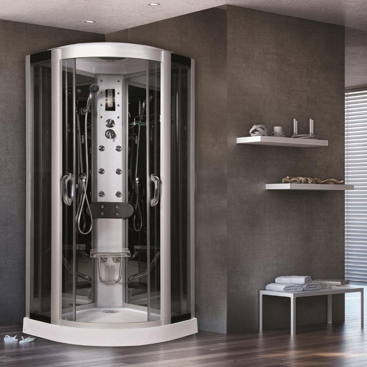 Cabina doccia idromassaggio semicircolare Eklis 90 x 90 cm - 1