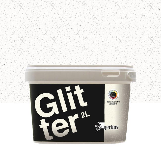 Pittura decorativa GECKOS Glitter 2 l bianco effetto paillette - 1