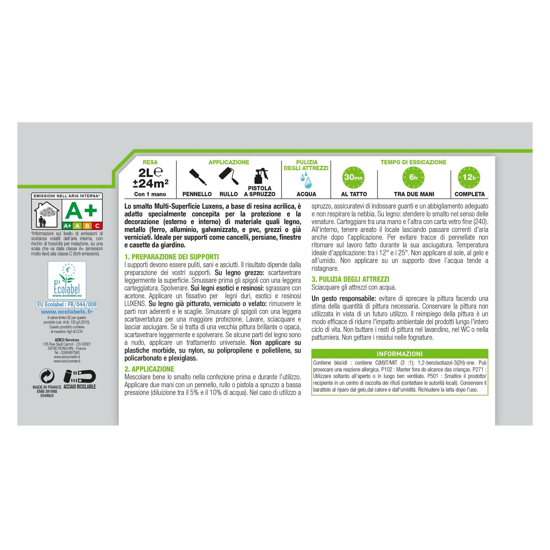 Pittura LUXENS acrilico bianco ral9016 2 L - 3