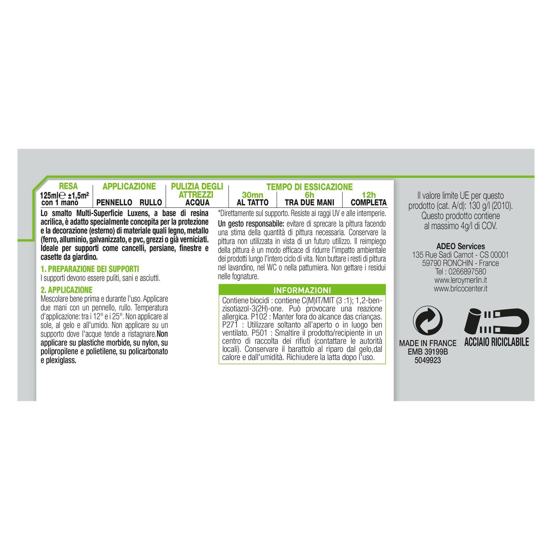 Pittura LUXENS acrilico bianco ral9016 0.125 L - 6