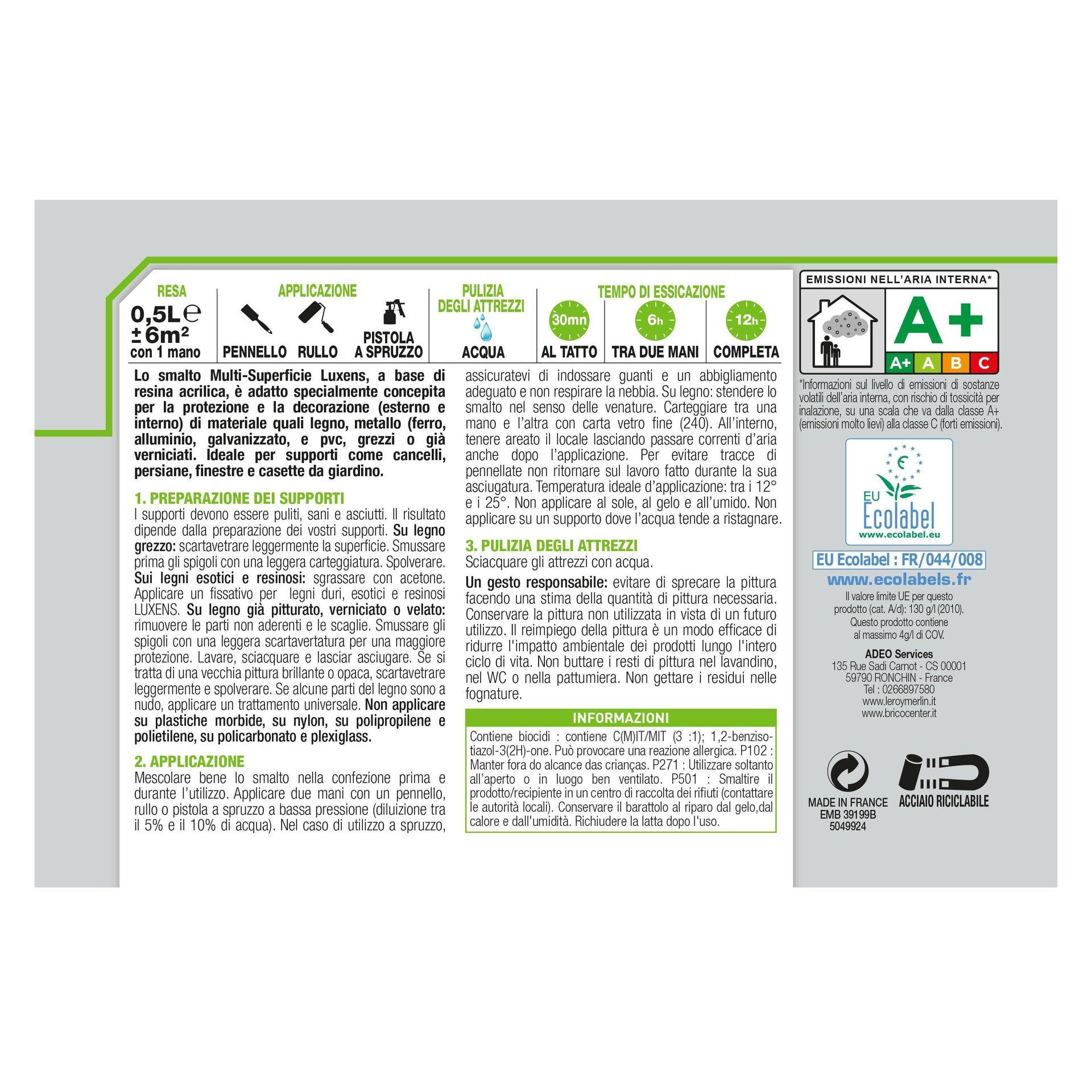 Pittura LUXENS acrilico bianco ral9016 0.5 L - 4