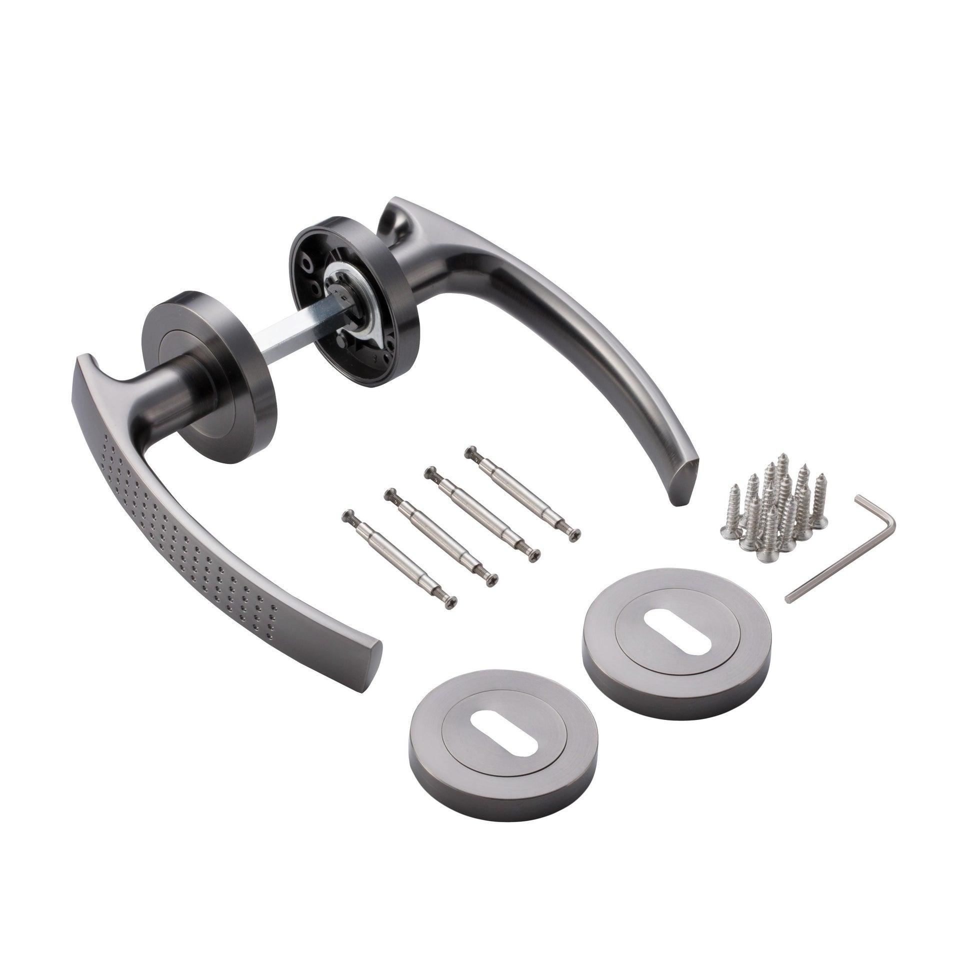 Maniglia con rosetta e bocchetta INSPIRE in alluminio spazzolato - 4