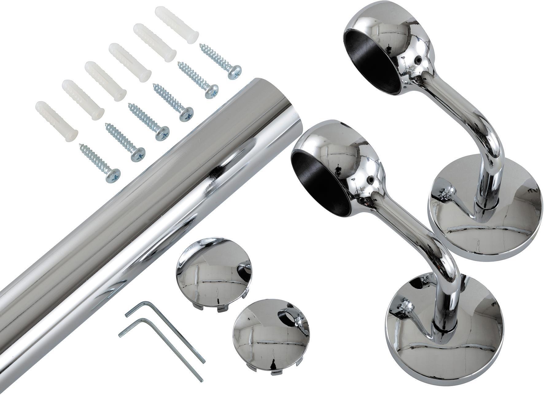 Kit corrimano in acciaio L 200 x 4 cm argento - 2
