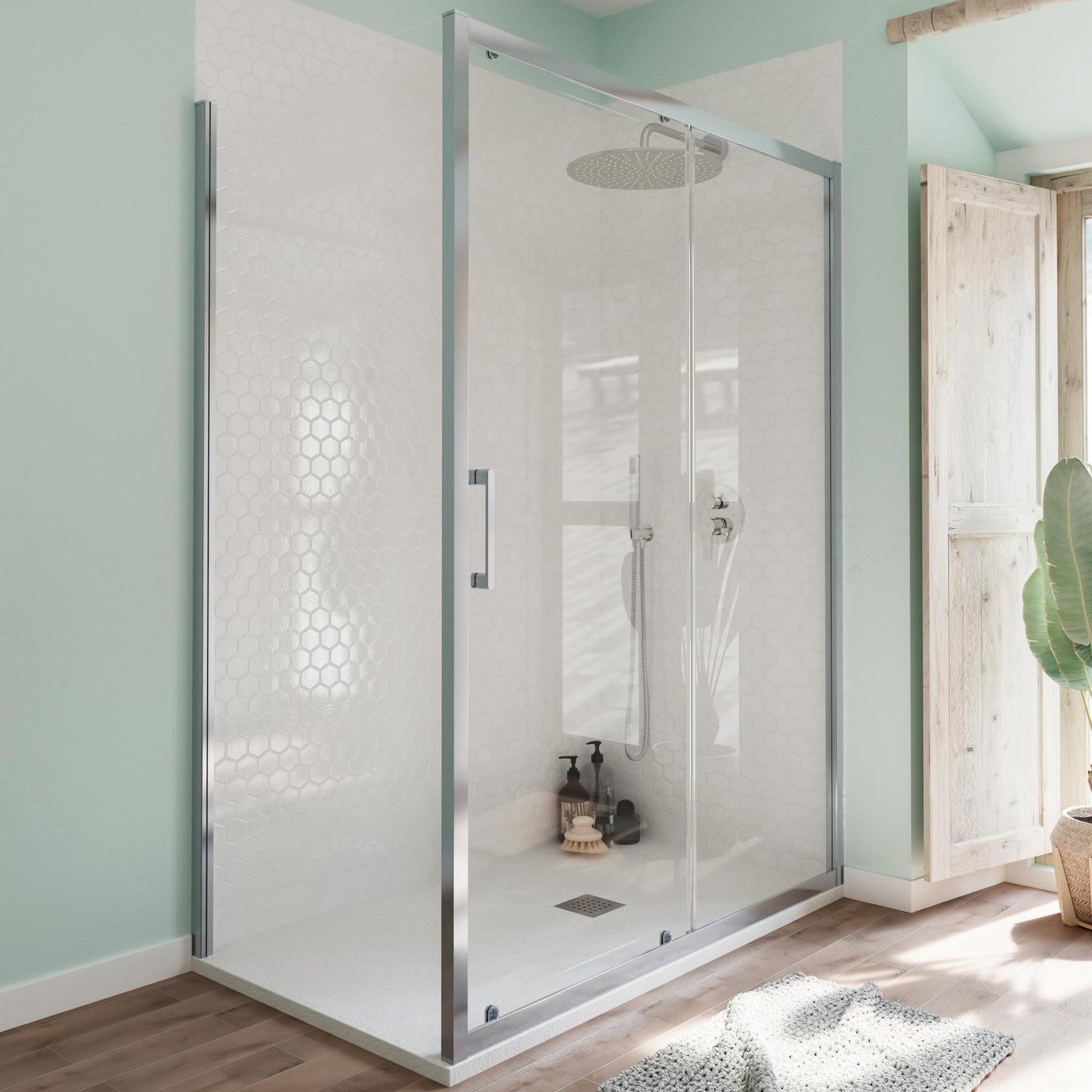 Box doccia angolare porta scorrevole e lato fisso rettangolare Bilbao 140 x 80 cm, H 190 cm in vetro temprato, spessore 6 mm trasparente cromato