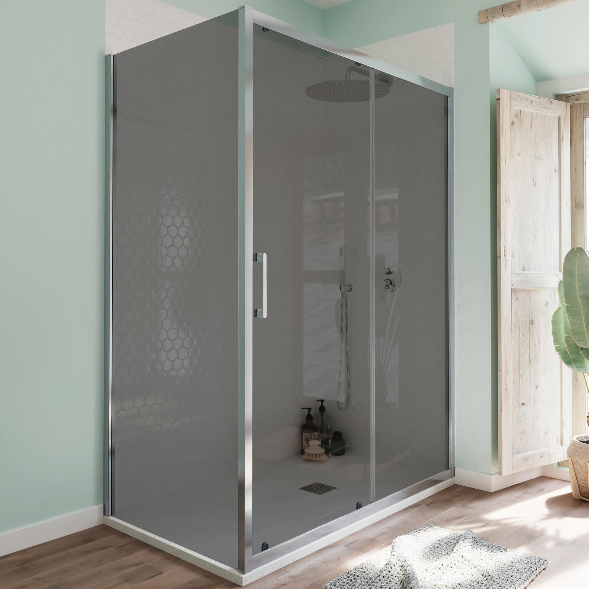 Box doccia angolare porta scorrevole e lato fisso rettangolare Bilbao 140 x 80 cm, H 190 cm in vetro temprato, spessore 6 mm fumé cromato