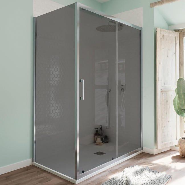 Box doccia angolare porta scorrevole e lato fisso rettangolare Bilbao 140 x 80 cm, H 190 cm in vetro temprato, spessore 6 mm fumé cromato - 1