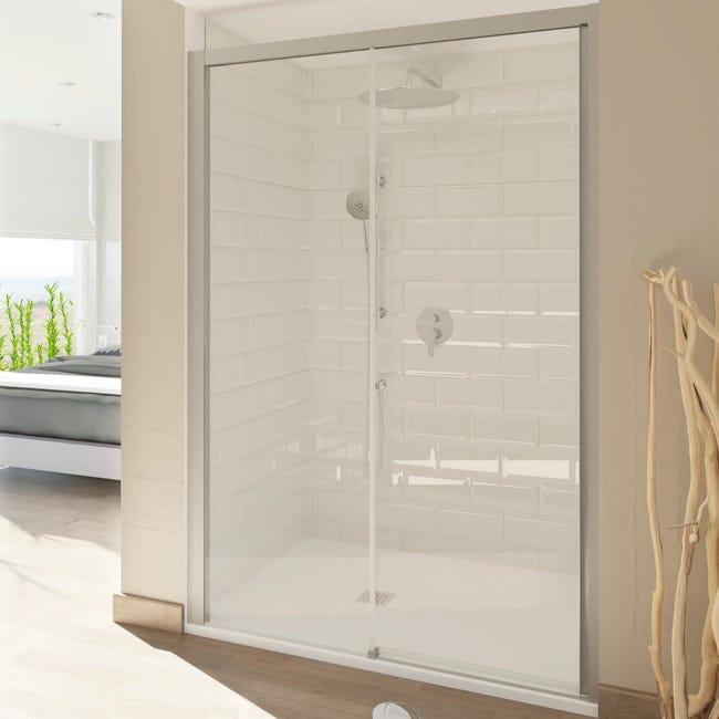 Porta doccia scorrevole Style 120 cm, H 200 cm in vetro temperato, spessore 8 mm trasparente satinato - 1