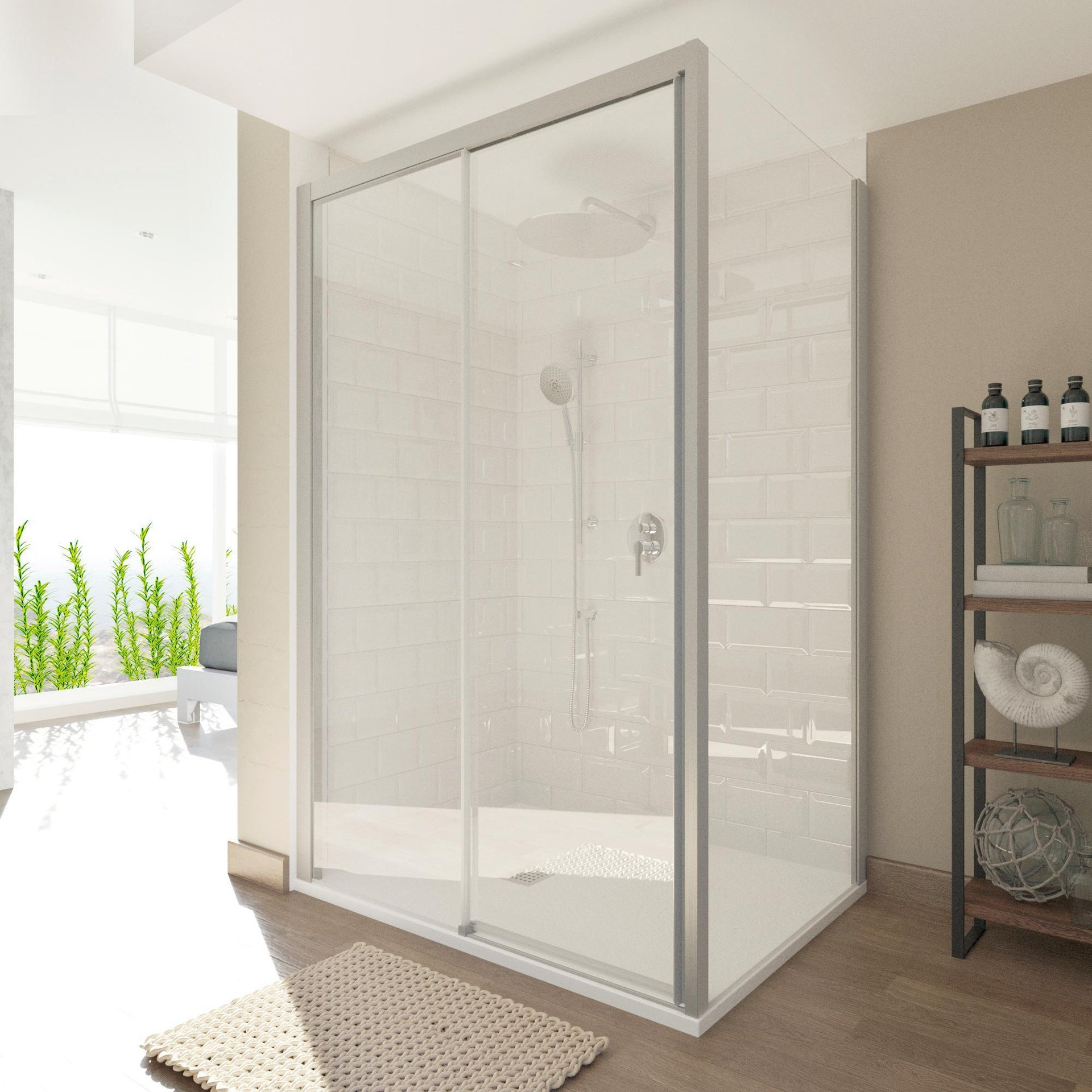 Porta doccia scorrevole Style 120 cm, H 200 cm in vetro temperato, spessore 8 mm trasparente satinato - 2