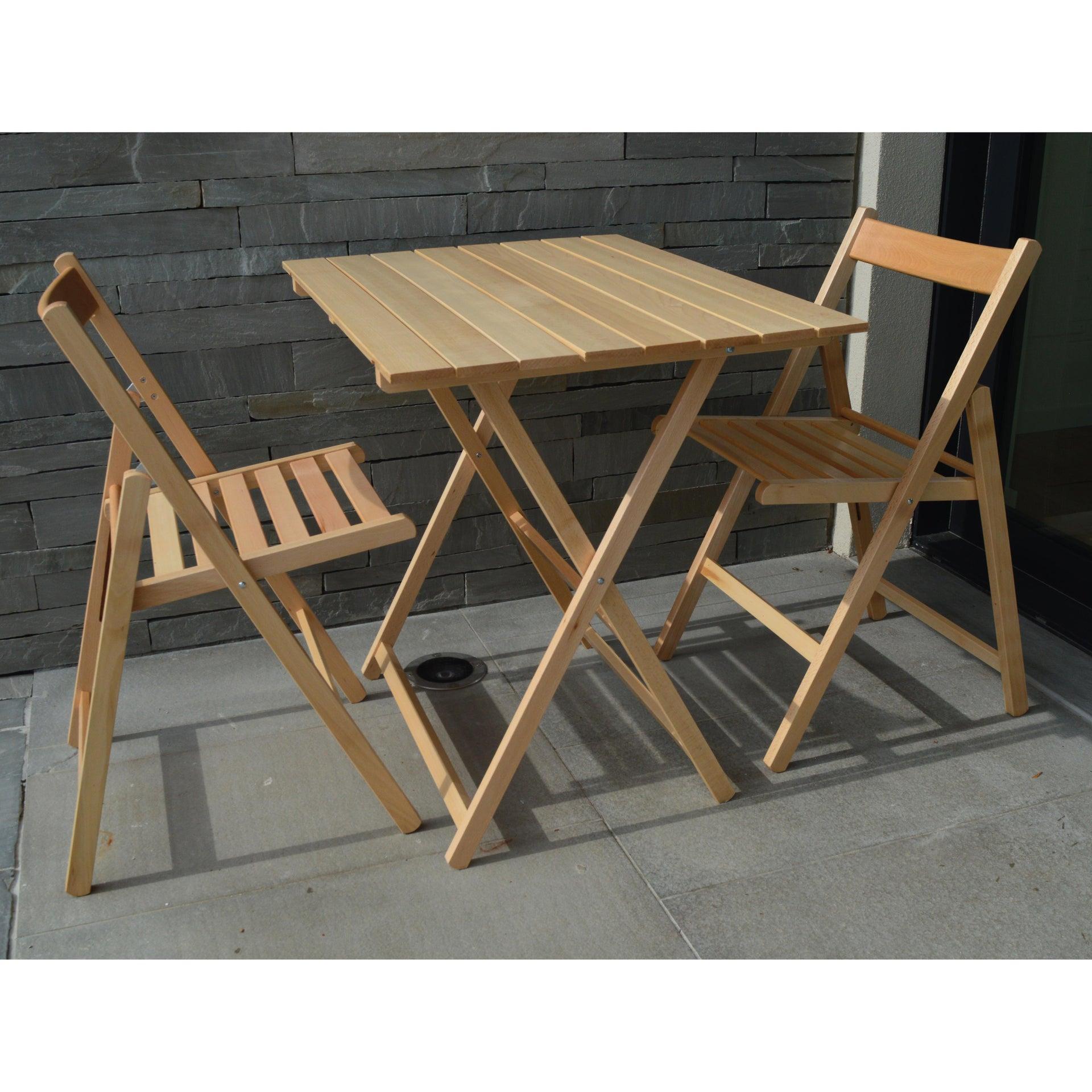 Tavolo da giardino rettangolare pieghevole con piano in legno L 60 x P 80 cm - 2
