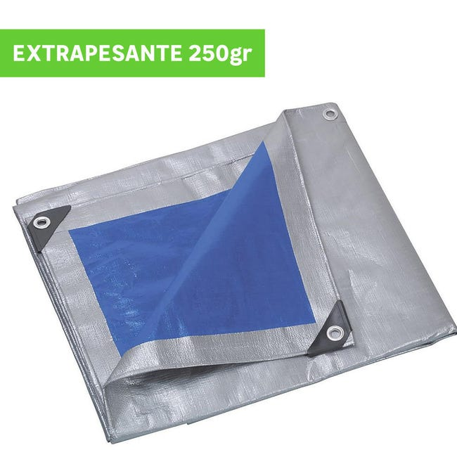 Telo protettivo in polietilene occhiellato L 5 m x H 400 cm 250 g/m² - 1