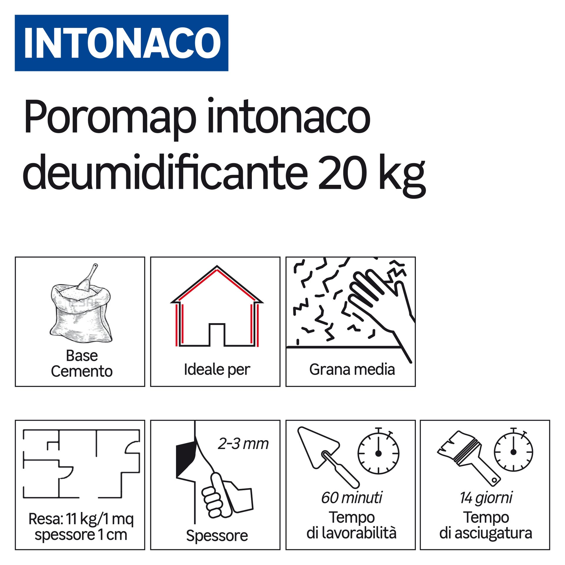 Intonaco Poromap deumidificante 20 kg - 2